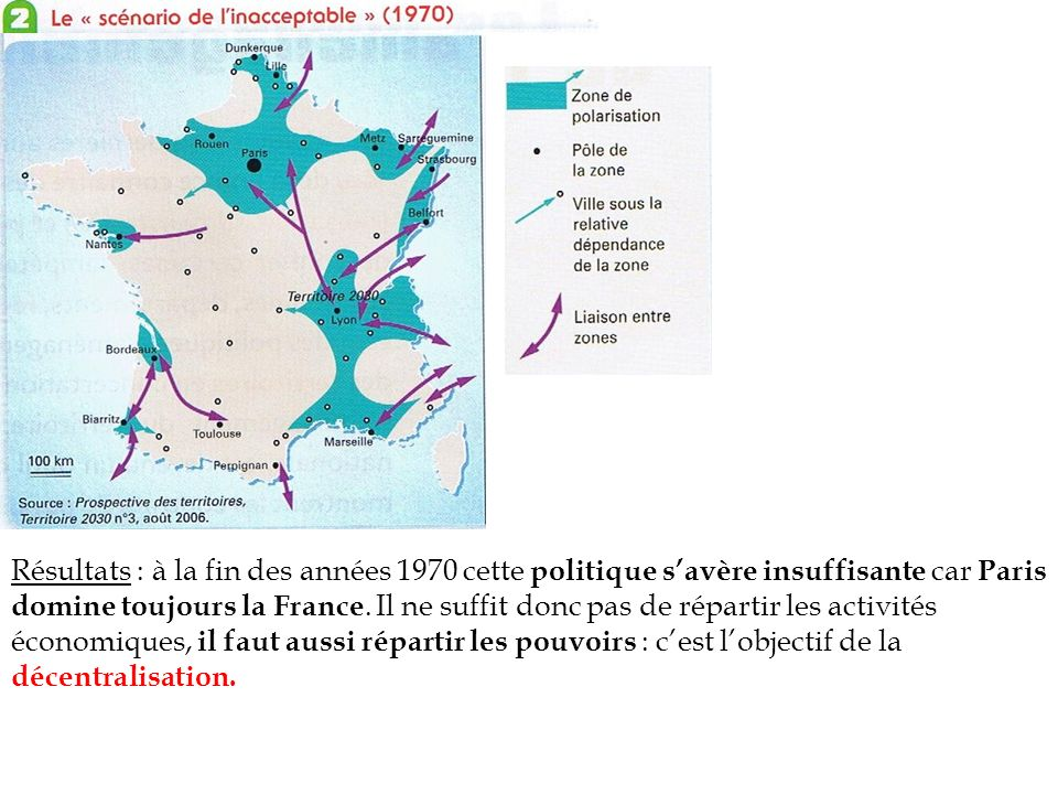 Résultats : à la fin des années 1970 cette politique savère insuffisante car Paris domine toujours la France. Il ne suffit donc pas de répartir les ac