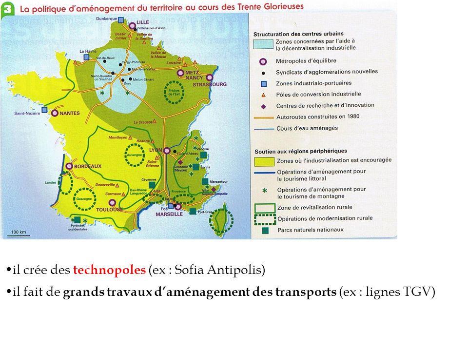 il crée des technopoles (ex : Sofia Antipolis) il fait de grands travaux daménagement des transports (ex : lignes TGV)