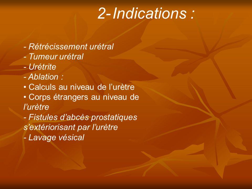 - Rétrécissement urétral - Tumeur urétral - Urétrite - Ablation : Calculs au niveau de lurètre Corps étrangers au niveau de lurètre - Fistules dabcès