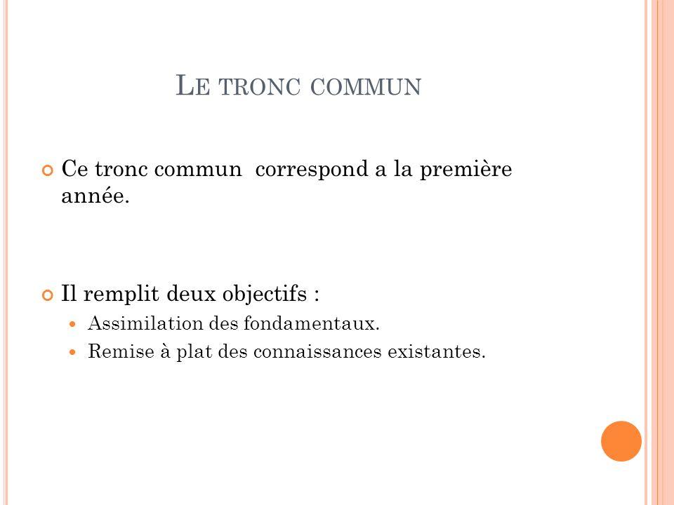 L E TRONC COMMUN Ce tronc commun correspond a la première année.