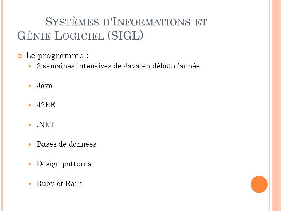 S YSTÈMES D I NFORMATIONS ET G ÉNIE L OGICIEL (SIGL) Le programme : 2 semaines intensives de Java en début dannée.