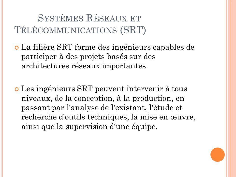 S YSTÈMES R ÉSEAUX ET T ÉLÉCOMMUNICATIONS (SRT) La filière SRT forme des ingénieurs capables de participer à des projets basés sur des architectures réseaux importantes.