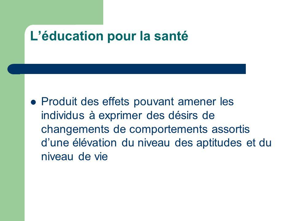 Léducation pour la santé Produit des effets pouvant amener les individus à exprimer des désirs de changements de comportements assortis dune élévation du niveau des aptitudes et du niveau de vie