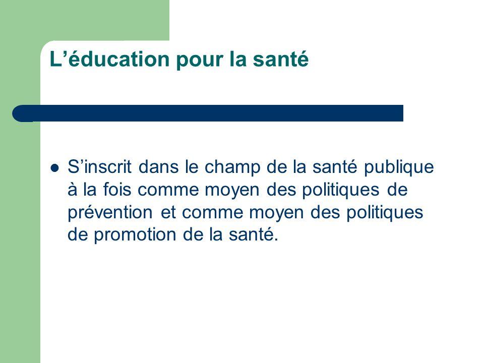 Léducation pour la santé Sinscrit dans le champ de la santé publique à la fois comme moyen des politiques de prévention et comme moyen des politiques de promotion de la santé.