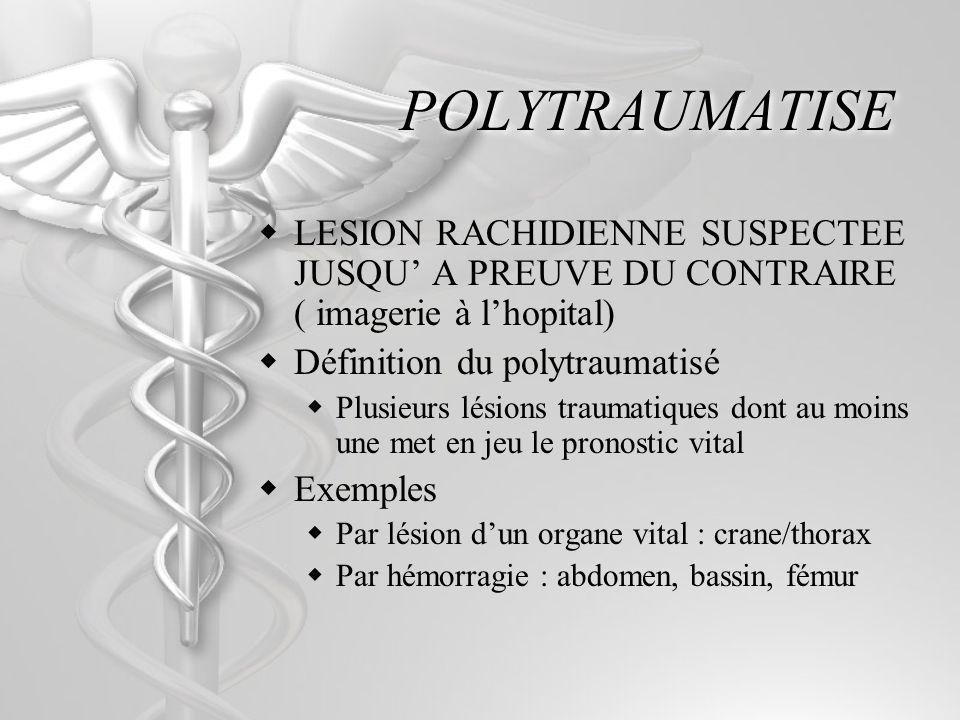 POLYTRAUMATISE LESION RACHIDIENNE SUSPECTEE JUSQU A PREUVE DU CONTRAIRE ( imagerie à lhopital) Définition du polytraumatisé Plusieurs lésions traumati
