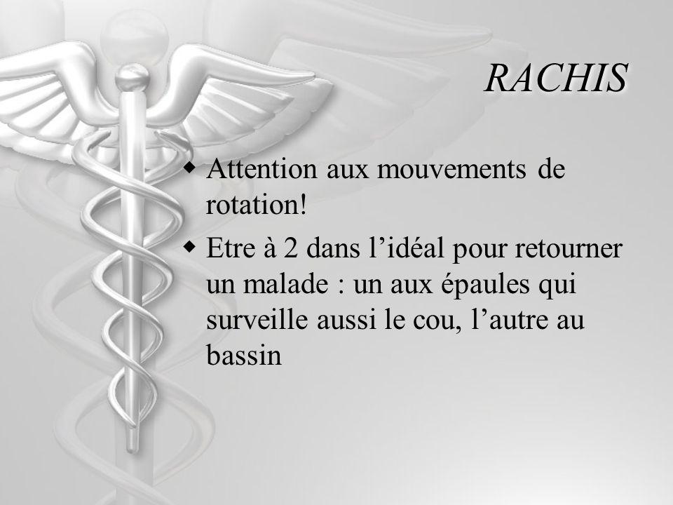 RACHIS Attention aux mouvements de rotation! Etre à 2 dans lidéal pour retourner un malade : un aux épaules qui surveille aussi le cou, lautre au bass