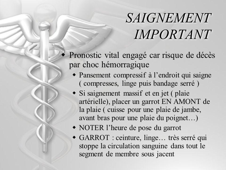 SAIGNEMENT IMPORTANT Pronostic vital engagé car risque de décès par choc hémorragique Pansement compressif à lendroit qui saigne ( compresses, linge puis bandage serré ) Si saignement massif et en jet ( plaie artérielle), placer un garrot EN AMONT de la plaie ( cuisse pour une plaie de jambe, avant bras pour une plaie du poignet…) NOTER lheure de pose du garrot GARROT : ceinture, linge… très serré qui stoppe la circulation sanguine dans tout le segment de membre sous jacent