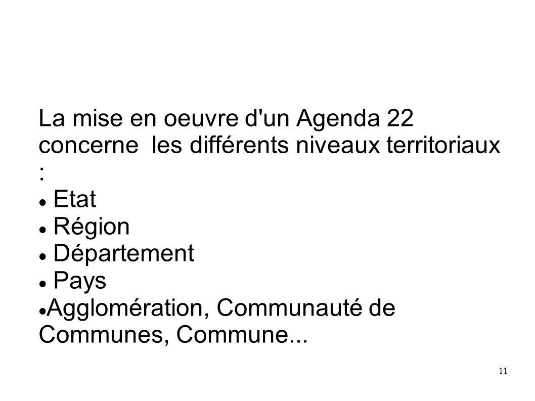 11 La mise en oeuvre d'un Agenda 22 concerne les différents niveaux territoriaux : Etat Région Département Pays Agglomération, Communauté de Communes,