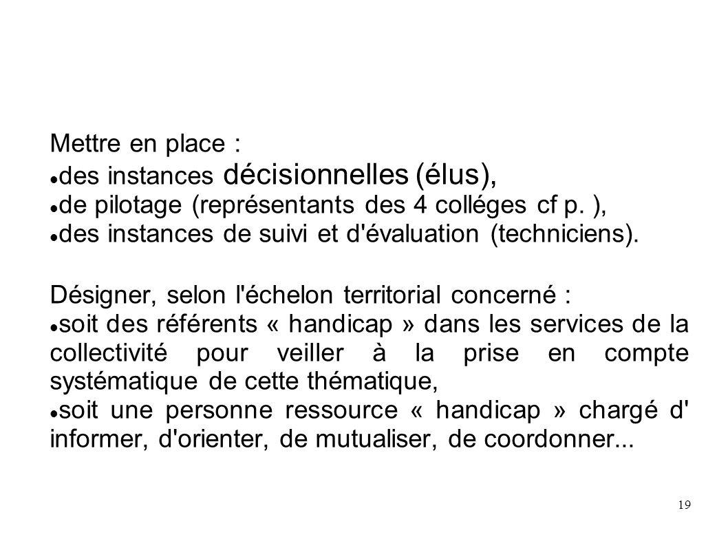19 Mettre en place : des instances décisionnelles (élus), de pilotage (représentants des 4 colléges cf p. ), des instances de suivi et d'évaluation (t