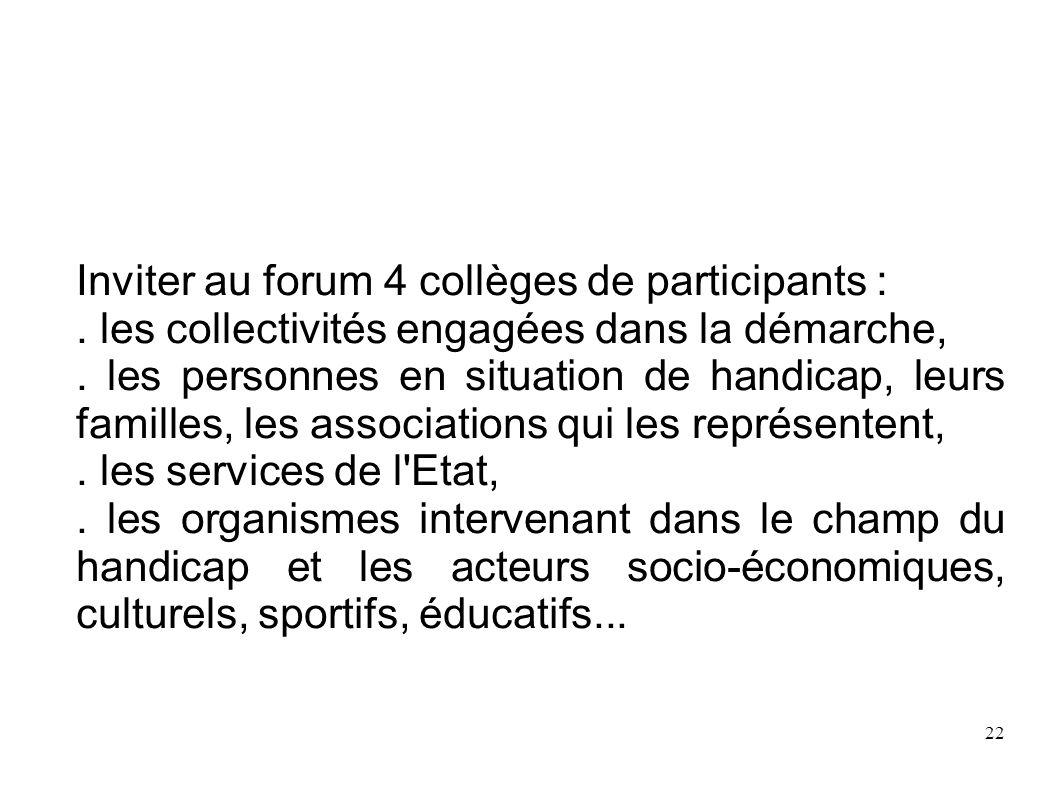 22 Inviter au forum 4 collèges de participants :. les collectivités engagées dans la démarche,. les personnes en situation de handicap, leurs familles