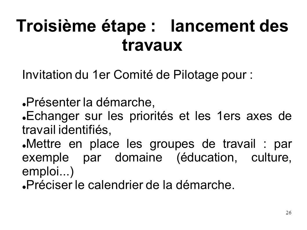 26 Troisième étape : lancement des travaux Invitation du 1er Comité de Pilotage pour : Présenter la démarche, Echanger sur les priorités et les 1ers a
