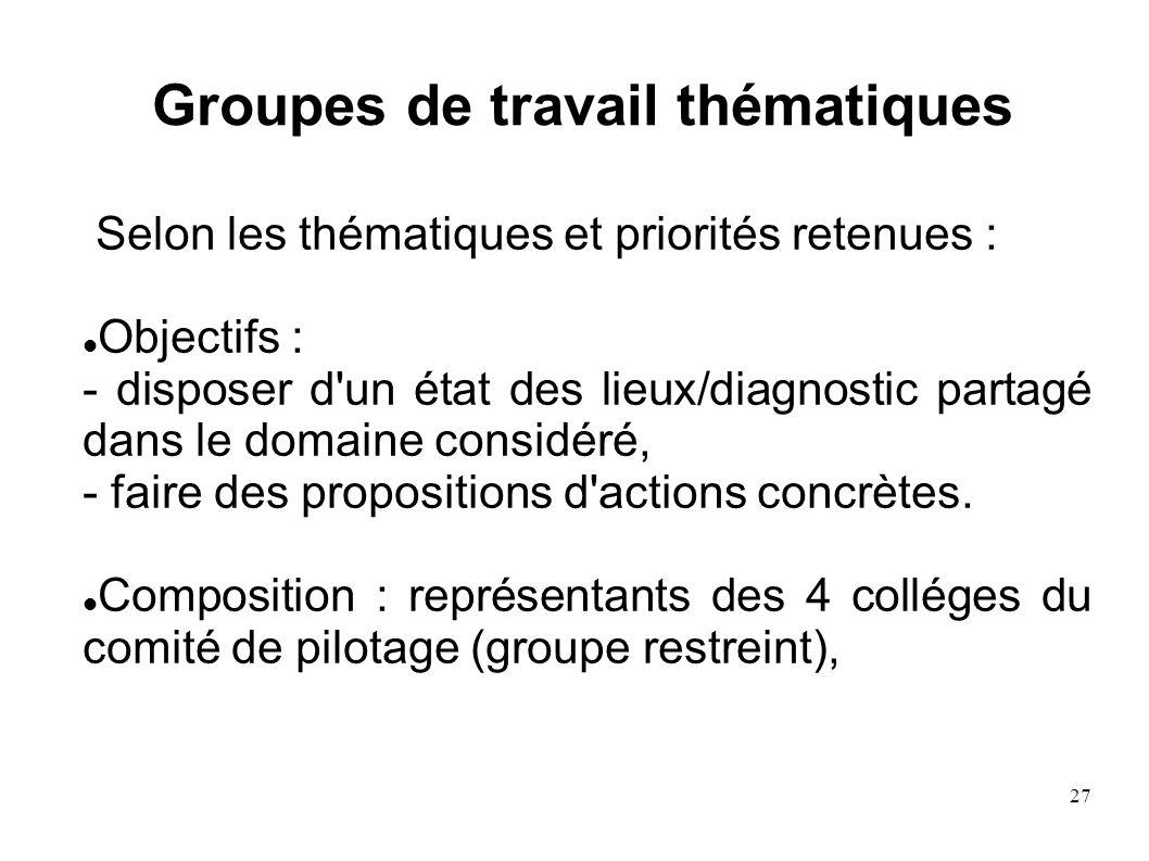 27 Groupes de travail thématiques Selon les thématiques et priorités retenues : Objectifs : - disposer d'un état des lieux/diagnostic partagé dans le