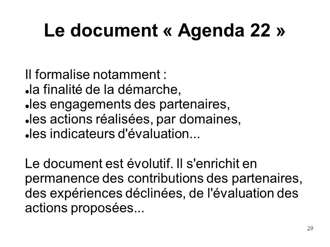 29 Le document « Agenda 22 » Il formalise notamment : la finalité de la démarche, les engagements des partenaires, les actions réalisées, par domaines