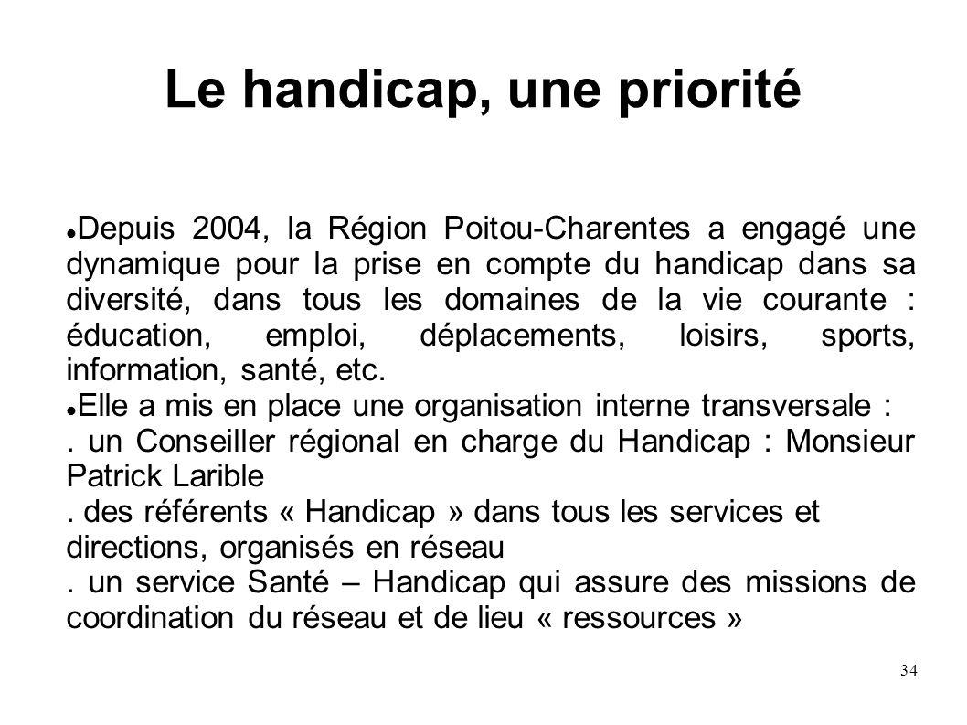 34 Depuis 2004, la Région Poitou-Charentes a engagé une dynamique pour la prise en compte du handicap dans sa diversité, dans tous les domaines de la