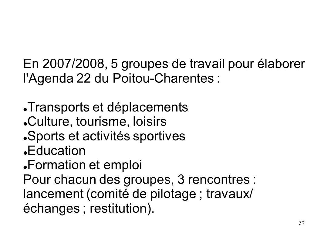 37 En 2007/2008, 5 groupes de travail pour élaborer l'Agenda 22 du Poitou-Charentes : Transports et déplacements Culture, tourisme, loisirs Sports et