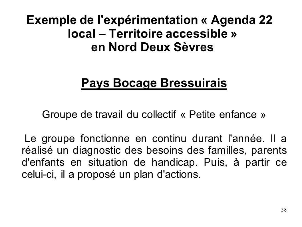 38 Exemple de l'expérimentation « Agenda 22 local – Territoire accessible » en Nord Deux Sèvres Pays Bocage Bressuirais Groupe de travail du collectif