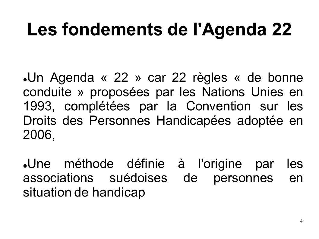 4 Les fondements de l'Agenda 22 Un Agenda « 22 » car 22 règles « de bonne conduite » proposées par les Nations Unies en 1993, complétées par la Conven