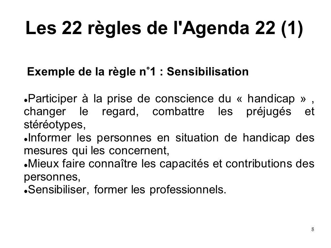 8 Les 22 règles de l'Agenda 22 (1) Exemple de la règle n°1 : Sensibilisation Participer à la prise de conscience du « handicap », changer le regard, c