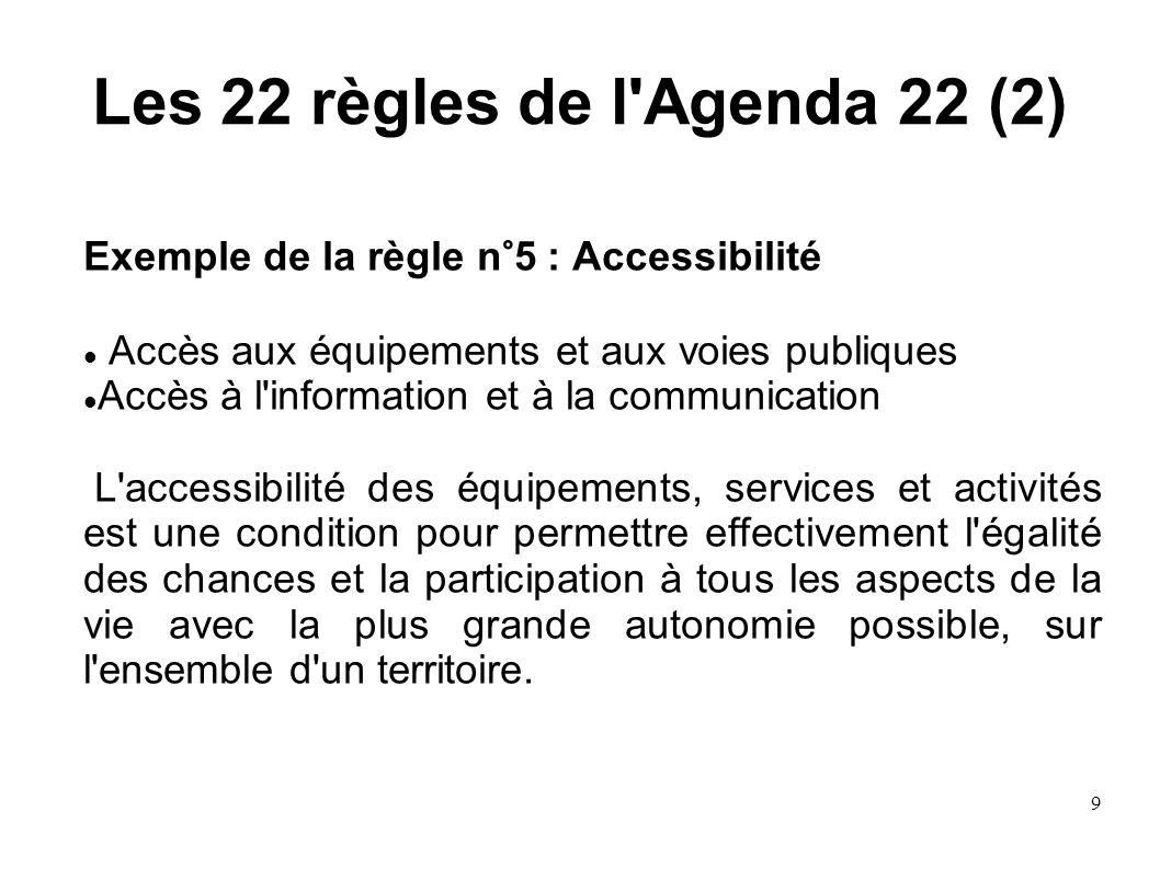 9 Les 22 règles de l'Agenda 22 (2) Exemple de la règle n°5 : Accessibilité Accès aux équipements et aux voies publiques Accès à l'information et à la