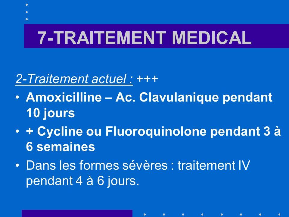 7-TRAITEMENT MEDICAL 2-Traitement actuel : +++ Amoxicilline – Ac. Clavulanique pendant 10 jours + Cycline ou Fluoroquinolone pendant 3 à 6 semaines Da