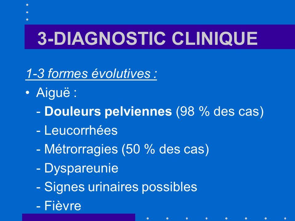 3-DIAGNOSTIC CLINIQUE 1-3 formes évolutives : Aiguë : - Douleurs pelviennes (98 % des cas) - Leucorrhées - Métrorragies (50 % des cas) - Dyspareunie -