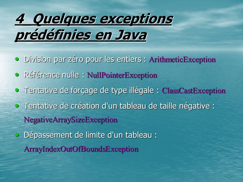 4_Quelques exceptions prédéfinies en Java Division par zéro pour les entiers : ArithmeticException Division par zéro pour les entiers : ArithmeticExce