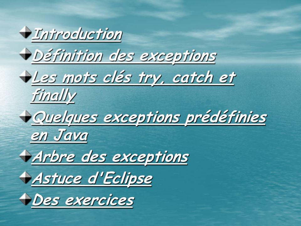 Introduction Définition des exceptions Les mots clés try, catch et finally Quelques exceptions prédéfinies en Java Arbre des exceptions Astuce d'Eclip
