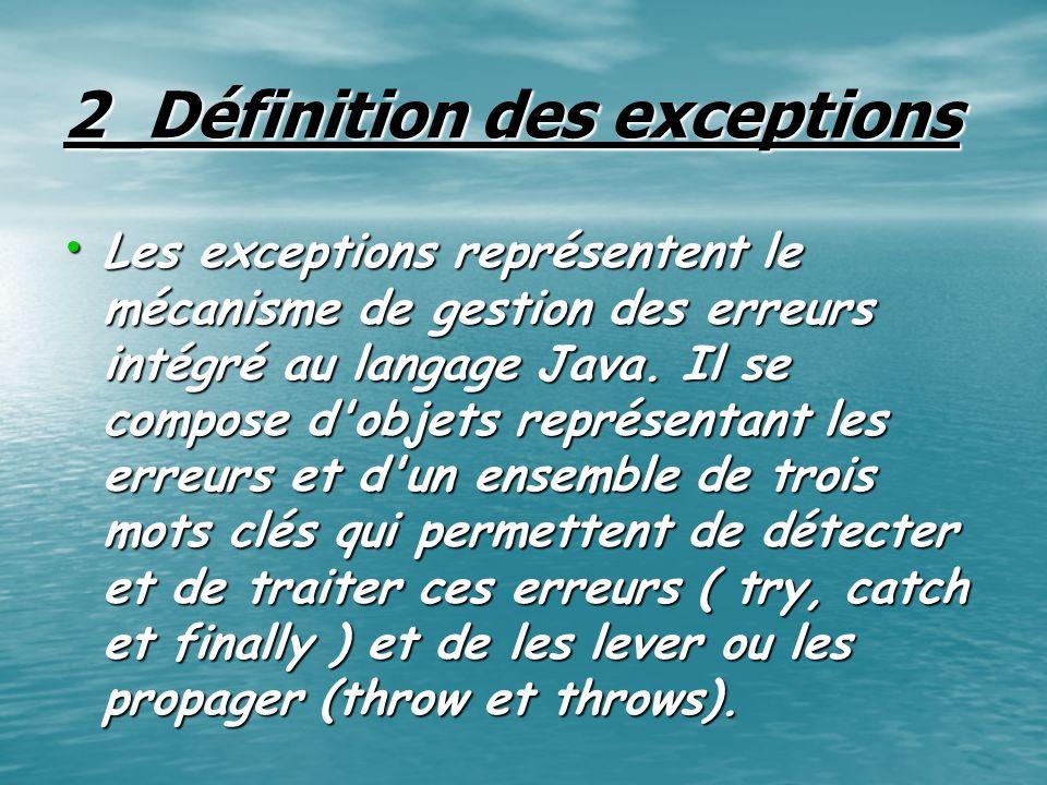 2_Définition des exceptions Les exceptions représentent le mécanisme de gestion des erreurs intégré au langage Java. Il se compose d'objets représenta
