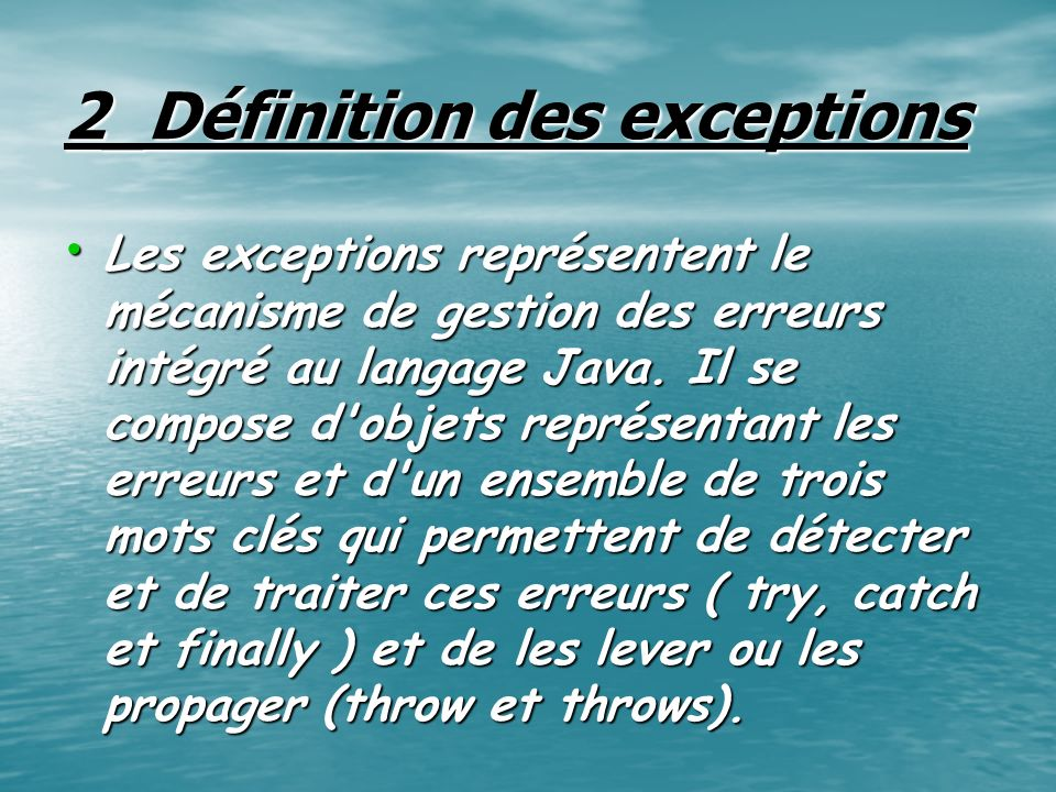 6_Arbre des exceptions Throwable String (message d erreur) ErrorException RunTimeException VosExceptions...