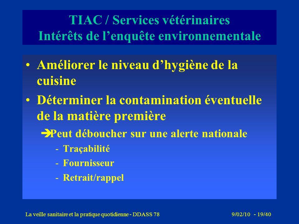9/02/10 - 18/40La veille sanitaire et la pratique quotidienne - DDASS 78 TIAC / Services vétérinaires Objectifs de lenquête environnementale Evaluer l