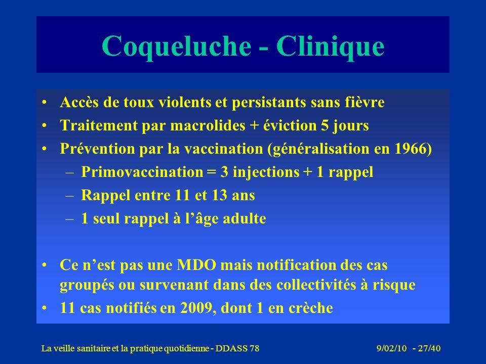 9/02/10 - 26/40La veille sanitaire et la pratique quotidienne - DDASS 78 Coqueluche - Rappel Infection contagieuse de larbre respiratoire (Bordetella