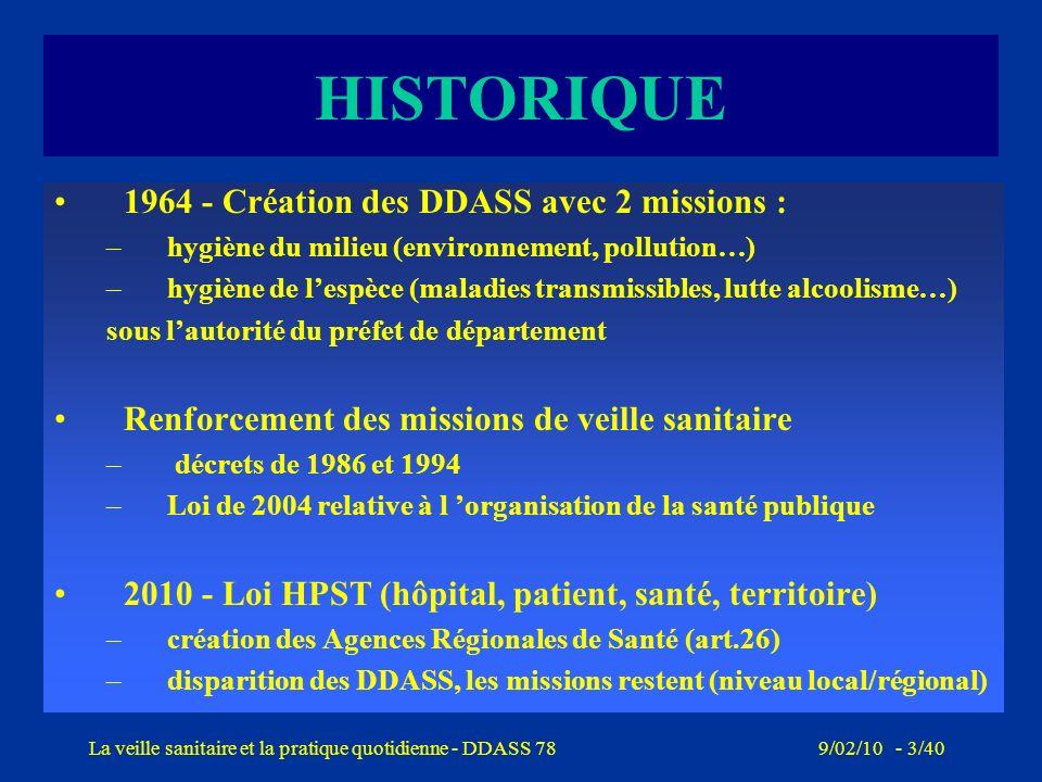 9/02/10 - 2/40La veille sanitaire et la pratique quotidienne - DDASS 78 La cellule de veille à la DDASS 78 : organisation Depuis 2004, une cellule en