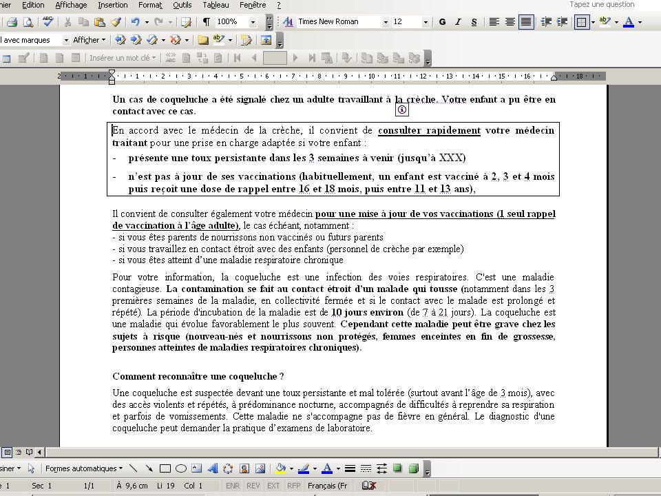 9/02/10 - 30/40La veille sanitaire et la pratique quotidienne - DDASS 78 Coqueluche : (1) Cas isolé dans une crèche CAT pour les enfants* : la DDASS c