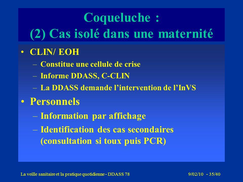 9/02/10 - 34/40La veille sanitaire et la pratique quotidienne - DDASS 78 Coqueluche : (2) Cas isolé dans une maternité Notification le 1/06/06 dun cas