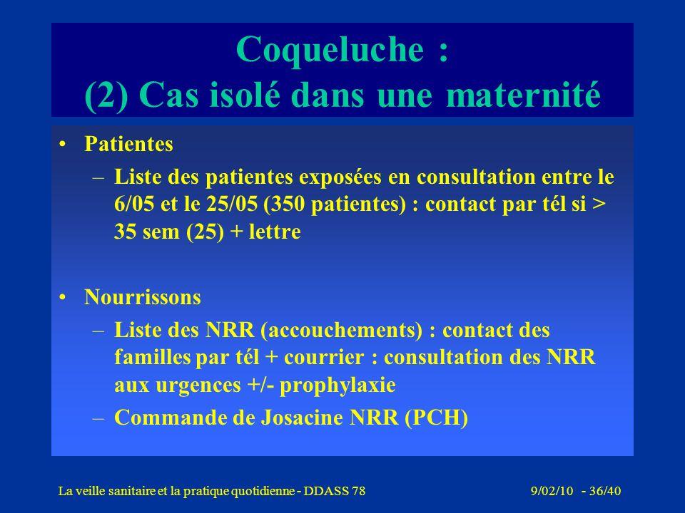 9/02/10 - 35/40La veille sanitaire et la pratique quotidienne - DDASS 78 Coqueluche : (2) Cas isolé dans une maternité CLIN/ EOH –Constitue une cellul