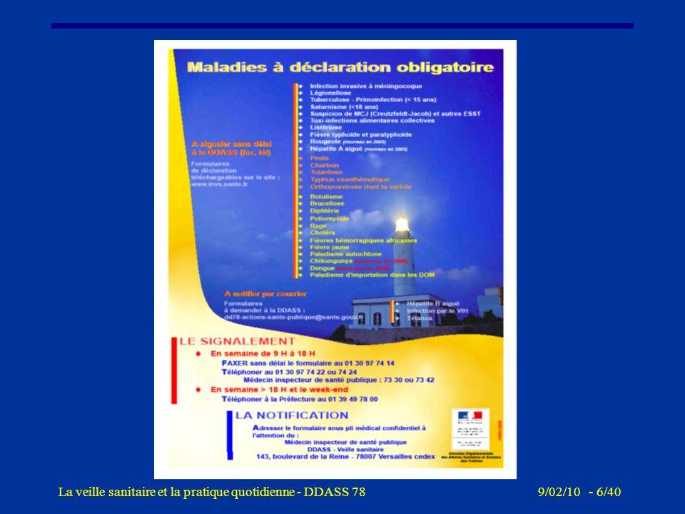9/02/10 - 5/40La veille sanitaire et la pratique quotidienne - DDASS 78 Veille sanitaire, gestion des signalements sanitaires et environnementaux (1)