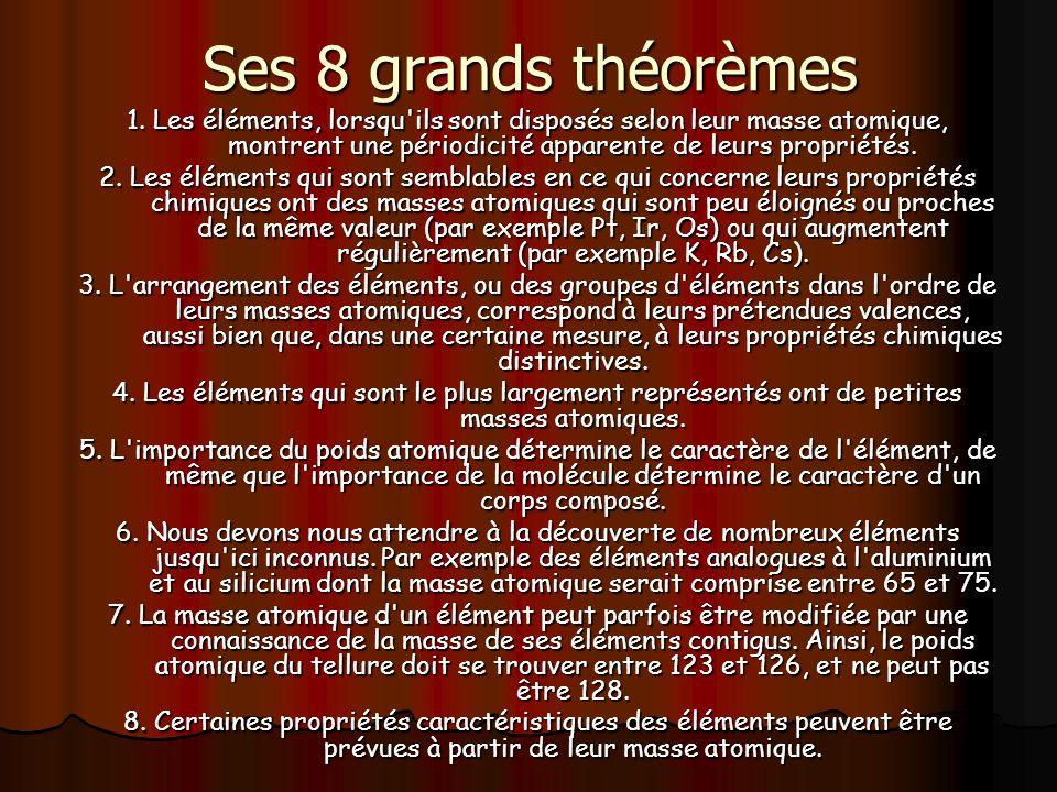 Ses 8 grands théorèmes 1. Les éléments, lorsqu'ils sont disposés selon leur masse atomique, montrent une périodicité apparente de leurs propriétés. 2.