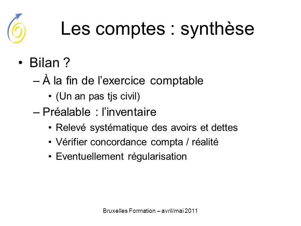 Bruxelles Formation – avril/mai 2011 Les comptes : synthèse Bilan ? –À la fin de lexercice comptable (Un an pas tjs civil) –Préalable : linventaire Re