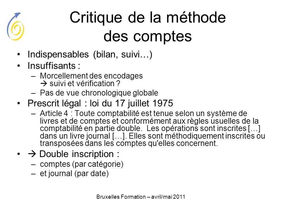 Bruxelles Formation – avril/mai 2011 Critique de la méthode des comptes Indispensables (bilan, suivi…) Insuffisants : –Morcellement des encodages suiv