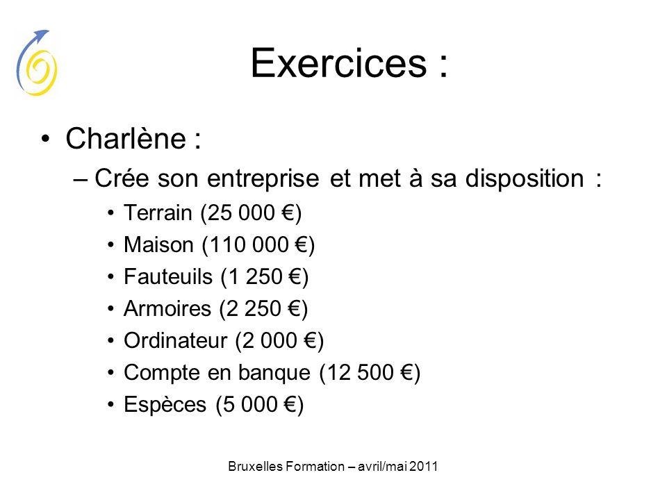 Bruxelles Formation – avril/mai 2011 Exercices : Charlène : –Crée son entreprise et met à sa disposition : Terrain (25 000 ) Maison (110 000 ) Fauteui