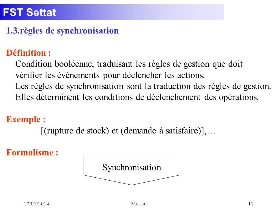 FST Settat 17/01/2014Merise11 1.3.règles de synchronisation Définition : Condition booléenne, traduisant les règles de gestion que doit vérifier les é