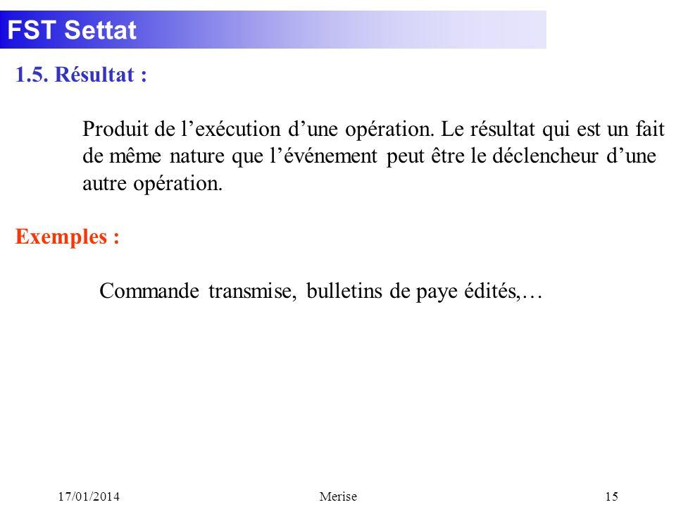 FST Settat 17/01/2014Merise15 1.5. Résultat : Produit de lexécution dune opération. Le résultat qui est un fait de même nature que lévénement peut êtr