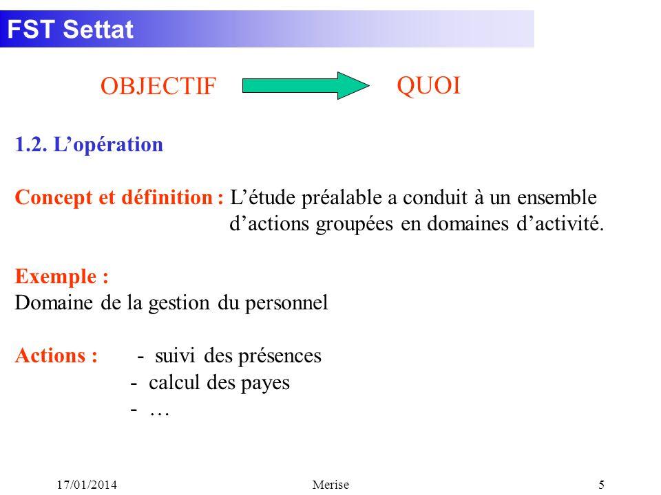 FST Settat 17/01/2014Merise26 Conclusion : Le MCD donne une vision statique de lentreprise, le MCT donne une vision dynamique de lentreprise (en supposant quelle dispose de moyens illimités et dune organisation idéale).