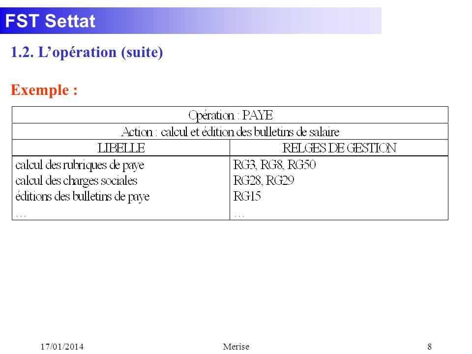 FST Settat 17/01/2014Merise9 Notion de processus : Cest un enchaînement dopérations dont les actions sont incluses dans un même domaine dactivité.