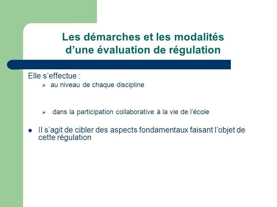 Les démarches et les modalités dune évaluation de régulation Elle seffectue : au niveau de chaque discipline dans la participation collaborative à la