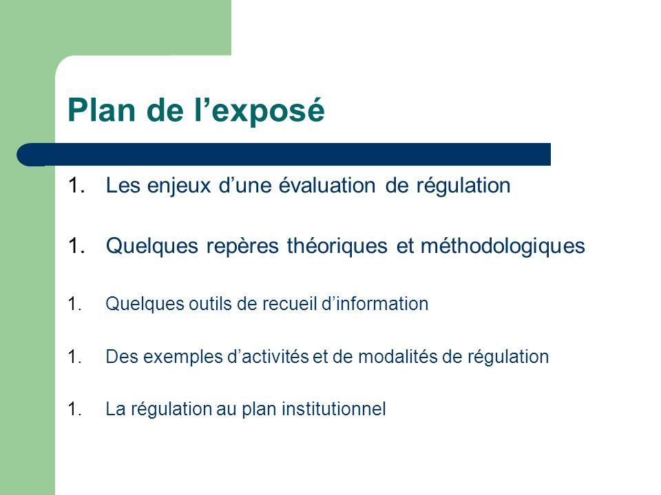 Plan de lexposé 1.Les enjeux dune évaluation de régulation 1.Quelques repères théoriques et méthodologiques 1.Quelques outils de recueil dinformation