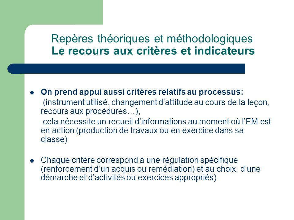 Repères théoriques et méthodologiques Le recours aux critères et indicateurs On prend appui aussi critères relatifs au processus: (instrument utilisé,