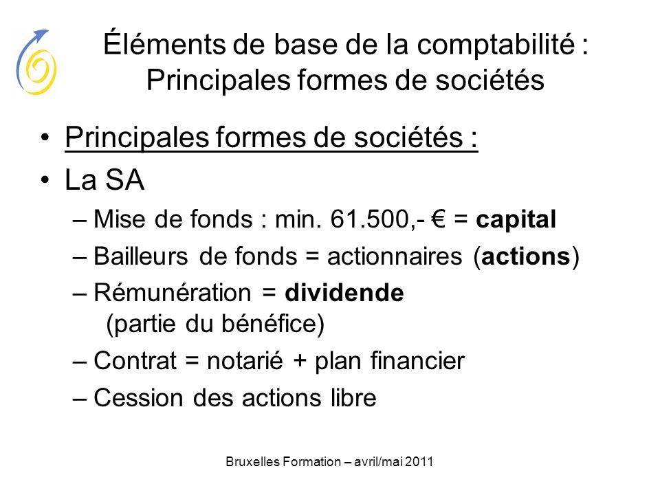 Bruxelles Formation – avril/mai 2011 Éléments de base de la comptabilité : Principales formes de sociétés Principales formes de sociétés : La SA –Mise