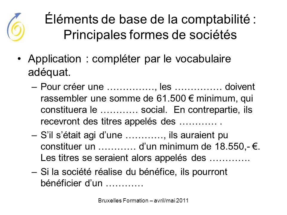 Bruxelles Formation – avril/mai 2011 Éléments de base de la comptabilité : Principales formes de sociétés Application : compléter par le vocabulaire a