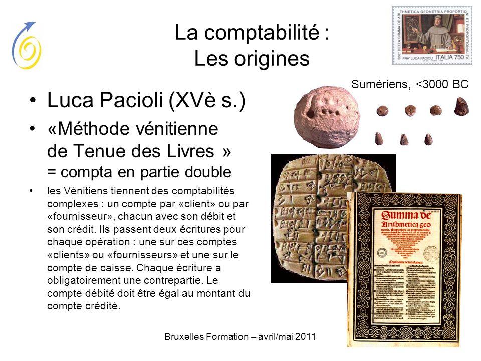 Bruxelles Formation – avril/mai 2011 La comptabilité : Les origines Luca Pacioli (XVè s.) «Méthode vénitienne de Tenue des Livres » = compta en partie